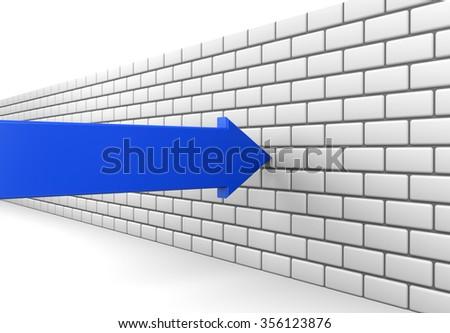 3D render illustration - Blue arrow crashes into a brick wall - stock photo