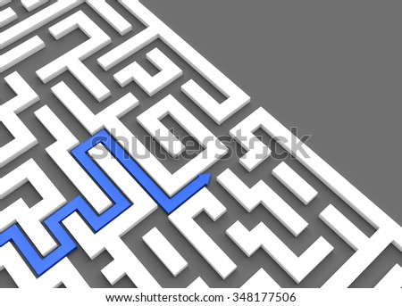 3D render illustration - Blue arrow leads through a maze - stock photo