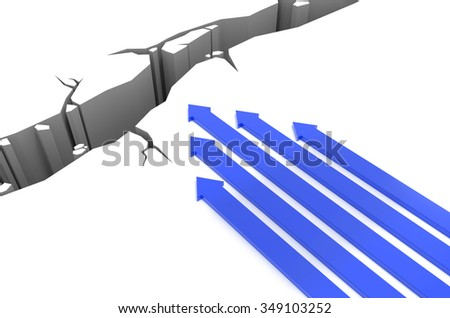 3D render illustration - Blue arrows racing to a pit - stock photo