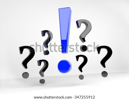 3D render illustration - blue exclamation mark surrounded by question marks - stock photo