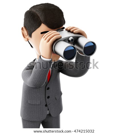 3d render illustration. Businessman looking through binoculars. Success in business. Isolated white background.