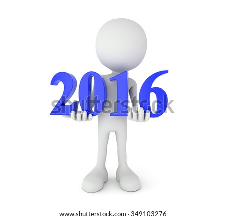 3d render illustration - cartoon person holds 2016 text