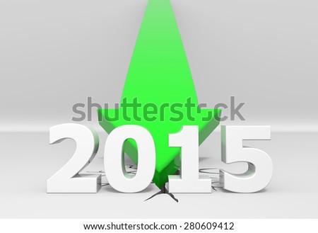 3D render illustration, green arrow crashes to the ground behind a 2015 text - stock photo