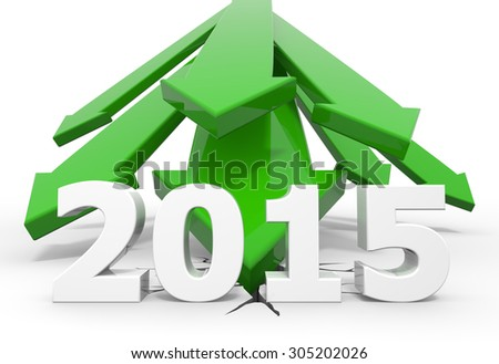 3d render illustration, green arrows crash to the ground behind 2015 text - stock photo