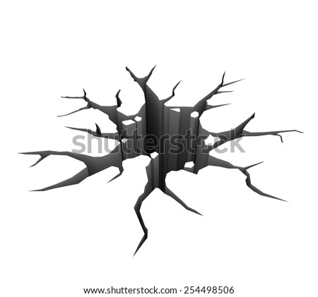 3D render illustration - Hole in the ground - stock photo