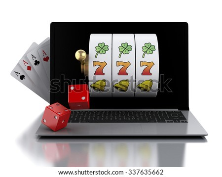 3d render illustration. Laptop with slot machine, dice and cards. Casino online games concept. Isolated white background - stock photo