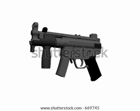 3D render, illustration of a gun. High resolution picture over white. HK-MP5-K handgun