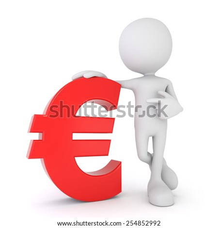 3d render illustration of a white 3d human pointing at a red euro symbol - stock photo