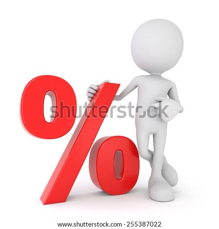 3D render illustration of a white 3d human pointing at a red percentage symbol - stock photo