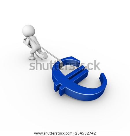 3d render illustration of a white 3d human pulling a blue euro symbol - stock photo