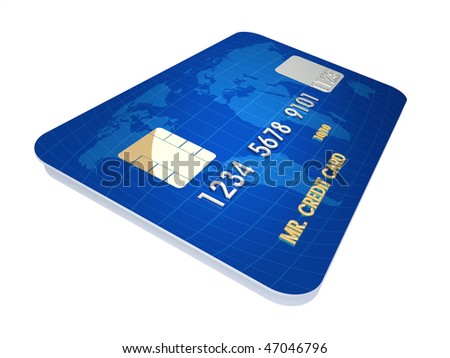 3d render illustration of conceptual credit card over white