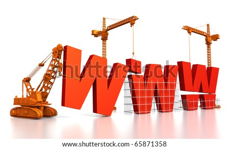 3D render illustration of construction site, including cranes and lifting machine, where the letters WWW are being built.