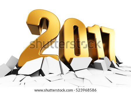 3D render illustration of creative abstract New Year 2017 beginning celebration concept on cracked surface isolated on white background