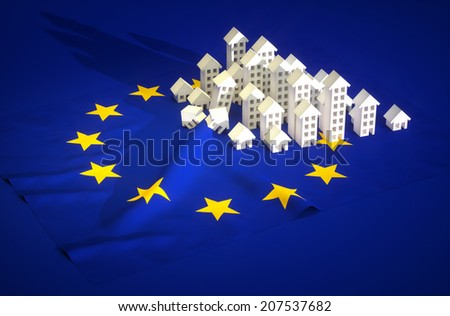 3d render illustration of EU real-estate development  - stock photo