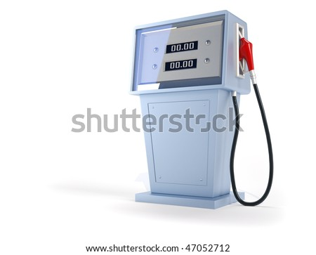 3d render illustration of gas pump over white background - stock photo