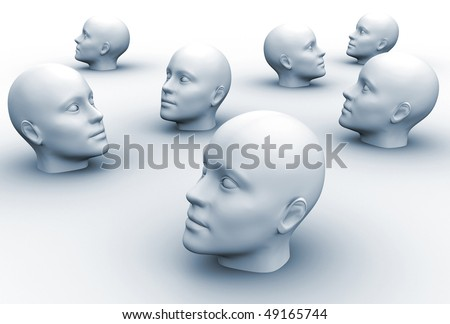 3d render illustration of human heads over white - stock photo