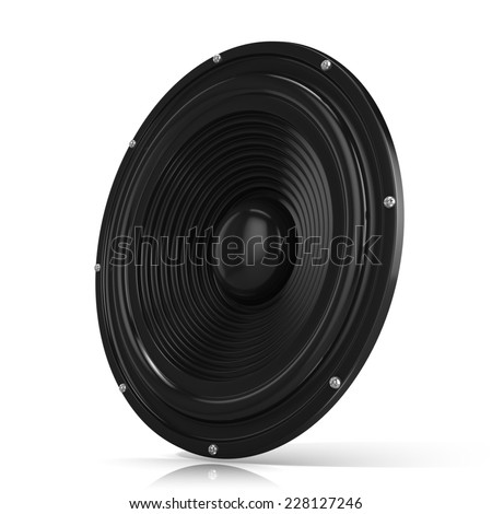 3D render illustration of loudspeaker. Isolated on white background. Side view. - stock photo