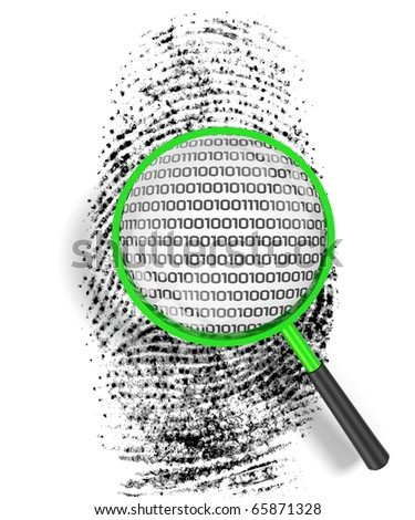 3D render illustration of magnifying glass hovering over a finger print, revealing binary code within the print