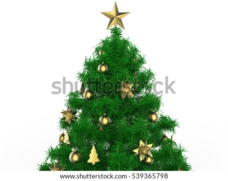 3d render illustration of multiple golden christmas ornaments - Golden Christmas 3
