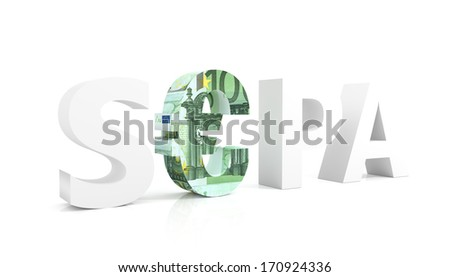 3d render illustration of SEPA - Single Euro Payments Area - stock photo
