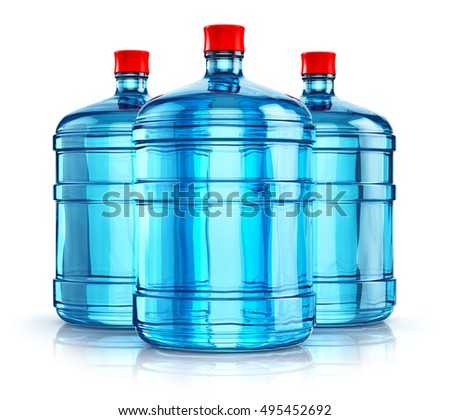 3d render of the group of three blue 19 liter or 5 gallon plastic water - 5 Gallon Water Bottles