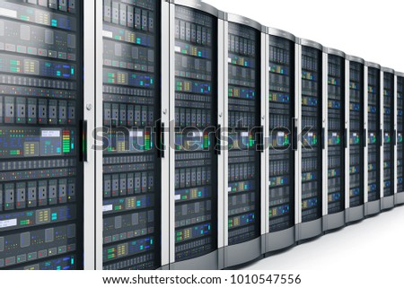 3D render illustration of the row of network servers in data center isolated on white background