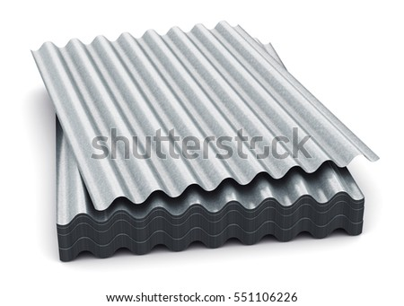 3D Render Illustration Of The Stack Or Group Of Stacked Metal Steel  Zinc Plated Or