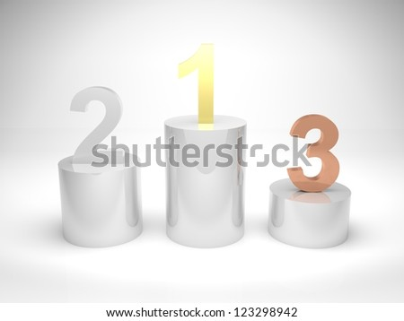 3d render illustration of winners podium with first, second, and third position in gold, silver, and bronze materials. - stock photo