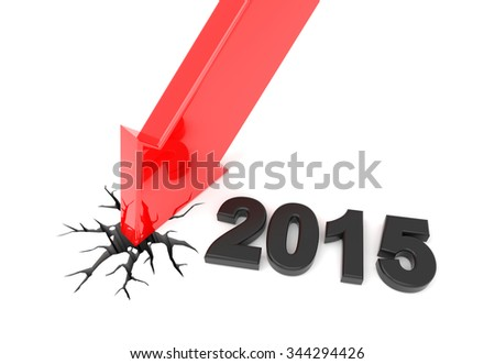 3D render illustration, red arrow crashes to the ground - stock photo