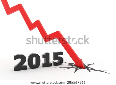 3D render illustration, red arrow crashes to the ground after a 2015 text - stock photo