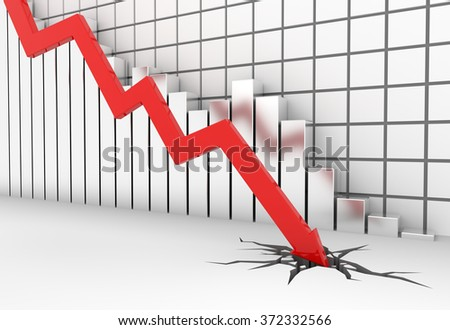 3D render illustration - red arrow graph moves down - stock photo