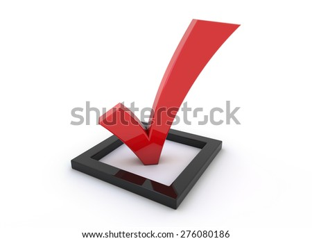 3d render illustration - red tick symbol - survey - stock photo
