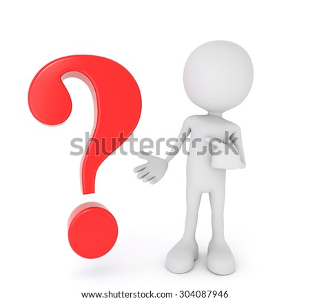 3D render illustration, white 3d human points at a red question mark - stock photo