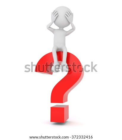 3D render illustration - white 3d person sitting on red a question mark - stock photo