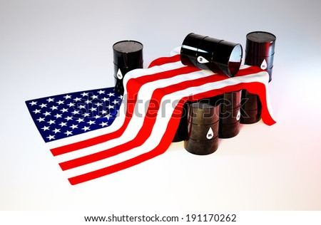 3d render image of the flag of the United States of America with oil barrels - stock photo
