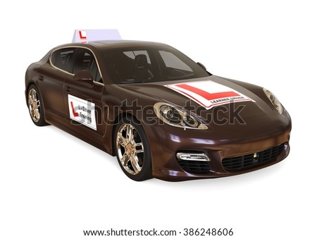 3D render image representing a luxury car with driving school signs on it / Driving school  - stock photo