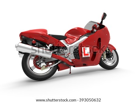 3D render image representing a motorbike with learner driver sign / Motorbike with learner driver sign  - stock photo