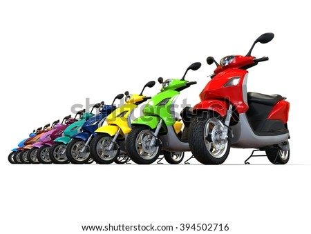 3D render image representing a row a scooter / Row of scooters - stock photo