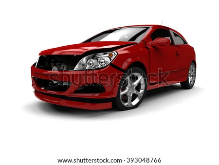 3D render image representing a wrecked car / Wrecked car