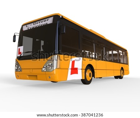 3D render image representing Driving school concept for buss / Driving school Buss - stock photo