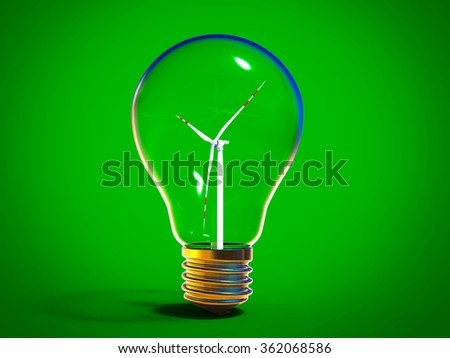3D render image representing green energy / green energy - stock photo