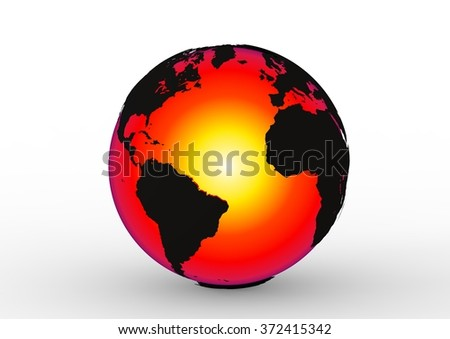 3D render image representing interior of the earth / Earth planet interior - stock photo