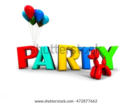 3D render image representing party text with balloons / Party Text