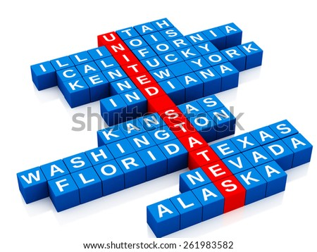 3d render image. United States country concept. Crossword with letters. Isolated white background