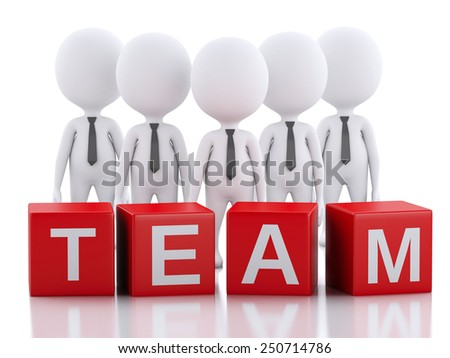 3d render image. White business people. Team concept. Isolated white background - stock photo