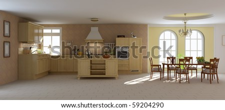 3d render interior of a classic dining room and kitchen