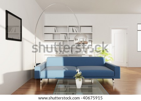 3d render interior of a modern living room - stock photo