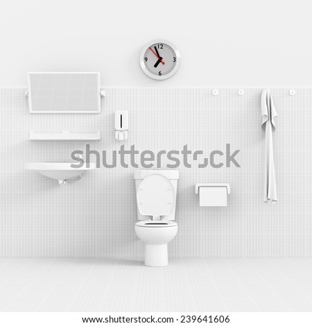 3d render interior of bathroom concept. - stock photo