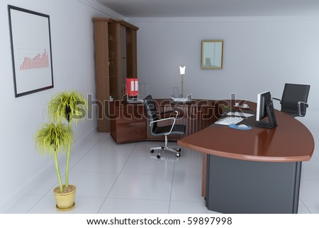 3d render interior of manager office - stock photo