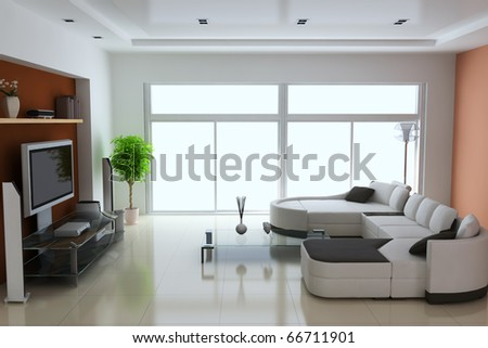 3d render interior of modern living room